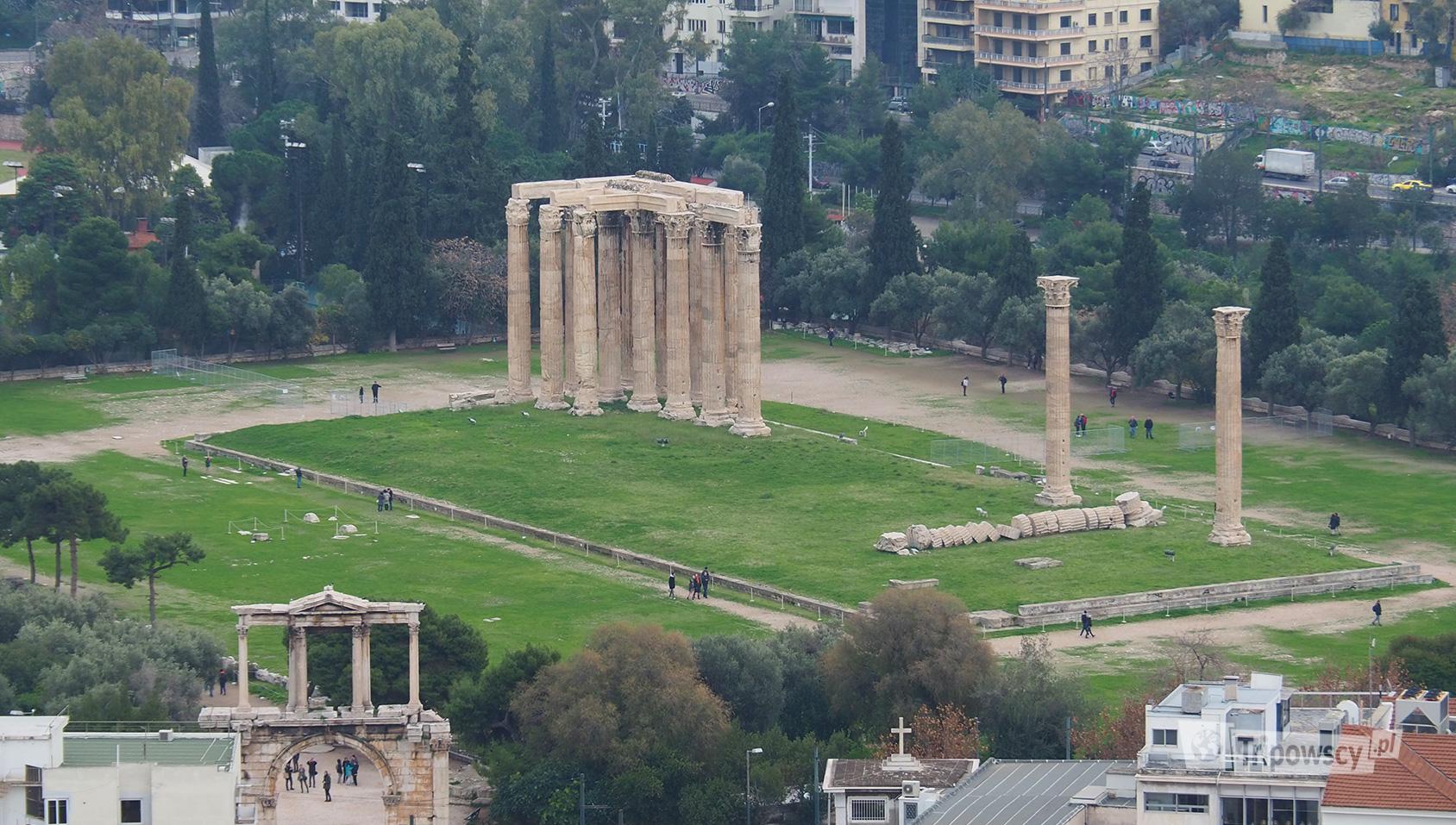 Świątynia Zeusa Olimpijskiego w Atenach, widok z Akropolu